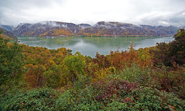 Fisheye view with autumn at the Danube Gorges Stock Image