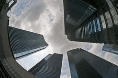 Fisheye view of battery park Stock Images