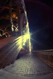 Fisheye view on Bolsheokhtinsky bridge across Neva River in St. Petersburg in night illumination Stock Photo