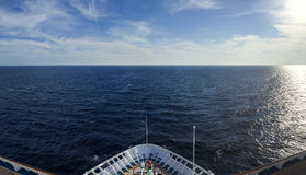 Fisheye view from bow of ocean liner Royalty Free Stock Image