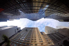 Fisheye view of buildings Stock Photos