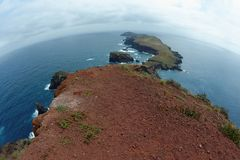 Fisheye view of Cape Ponta de Sao Lourenco on Madeira island royalty free stock photography