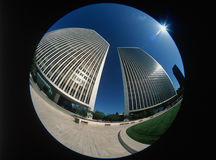Fisheye view of Century City, Los Angeles, CA Stock Images