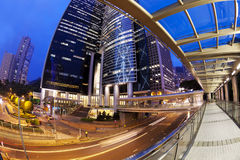 Fisheye view of city at night with traffic trails Royalty Free Stock Photography