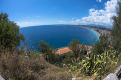 Fisheye view of coast in Nice Stock Image