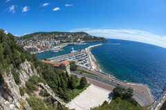 Fisheye view of coast in Nice Stock Photo