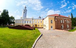 Fisheye view on the courtyard of the Novgorod Kremlin 1044 Royalty Free Stock Image