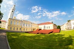 Fisheye view on the courtyard of the Novgorod Kremlin in summer stock images