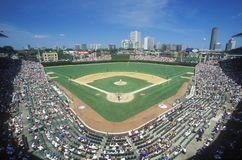 Fisheye view of crowd and diamond during a professional baseball game, Wrigley Field, Illinois Royalty Free Stock Photography