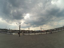 Fisheye view of Danube in Budapest Royalty Free Stock Images