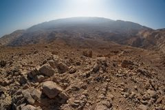 Fisheye view of the desert canyon. In the Small Crater (Makhtesh Katan) in Negev desert, Israel Royalty Free Stock Photos
