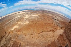Fisheye view of desert from Masada fortress stock photography
