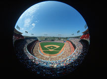 Fisheye view of Dodger Stadium, Los Angeles, CA Royalty Free Stock Photography