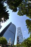 Fisheye view of financial district in Hong Kong Royalty Free Stock Image