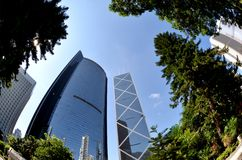 Fisheye view of financial district in Hong Kong Royalty Free Stock Photos