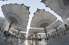 Fisheye view of giant umbrellas at Masjid Nabawi Stock Image