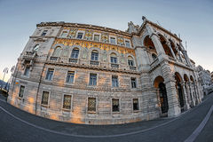 Fisheye view of Government Palace in Trieste, Italy 1 Royalty Free Stock Photo