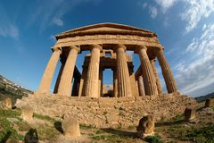 Fisheye view of Greek temple in Italy Stock Photos