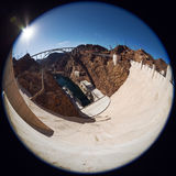 Fisheye view of Hoover Dam. Royalty Free Stock Image