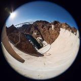 Fisheye view of Hoover Dam. Royalty Free Stock Image