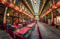 Fisheye view of interior of Leadenhall Market and cafe bar, The City, London, England, United Kingdom, Europe stock photo