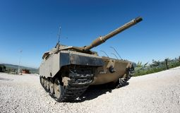Fisheye view of Israeli Merkava tank stock images
