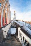 Fisheye view of the Iversky monastery in Samara, Russia Royalty Free Stock Image