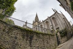 Fisheye church. Fisheye view of the Kirk of Saint Nicholas Uniting in Aberdeen, Scotland royalty free stock images