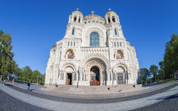 Fisheye view on Kronstadt Naval cathedral in Saint-Petersburg, R Royalty Free Stock Photo