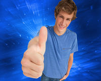 Fisheye view of a male student the thumbup Royalty Free Stock Photos