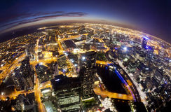 Fisheye view of Melbourne CBD , Australia. Fisheye view of Melbourne CBD at night stock image