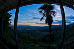 Fisheye view from Montecatini Alto near Florence which is a good viewpoint toward west Tuscany Stock Images