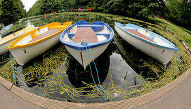 Fisheye view of moored boats Stock Photography