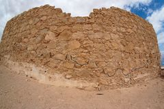 Fisheye View Of Ancient Fortress Ruin In The Deser Royalty Free Stock Photography