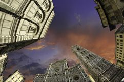 Fisheye View Of Piazza Del Duomo In Florence Stock Photography