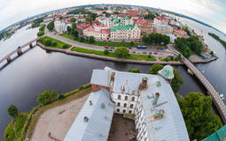 Fisheye view on the Old City from the observation deck of the Vy. Borg Castle in Vyborg, Russia stock photo
