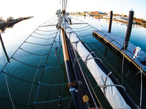 Fisheye view of old wooden sailboat, bowsprit Royalty Free Stock Photos