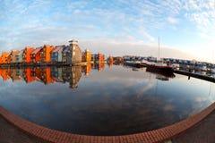 Fisheye View On Reitdiephaven In Groningen Stock Photos