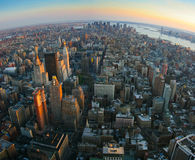Fisheye view over lower Manhattan, New York. Aerial panoramic fisheye view over lower Manhattan, New York from Empire State building top at sunset stock photos