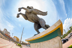 Fisheye view of a Pegasus statue in Cartagena. Royalty Free Stock Images