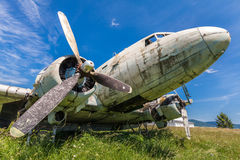 Fisheye view of the remains DC3 aircraft. Fisheye view of the remains of an abandoned Dakota DC3 aircraft from World War II on an airfield near Otocac, Croatia royalty free stock photography