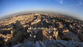 Fisheye view of Rome from the top of saint Peter. Fisheye view over Rome, Italy stock photography