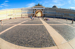 Fisheye view of Saint Petersburg.  Panorama of Palace Square and Stock Photo