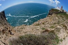 Fisheye view of Saint Vincent Cape and lighthouse in Algarve, Portugal Stock Photography