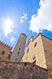 Fisheye view of San Gimignano towers and buidings on central square, Tuscany. Italy royalty free stock photography