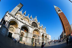Fisheye View of San Marco Piazza in Venice Stock Image