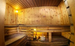 Fisheye view of a sauna - finnish hot treatment room Stock Images