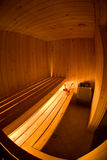 Fisheye View of Sauna Interior. Fisheye view of the interior of a wooden sauna Stock Images