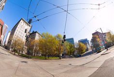 Fisheye view of Seattle city during summer time Royalty Free Stock Images