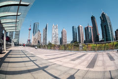 Fisheye view of shanghai financial center Royalty Free Stock Photography